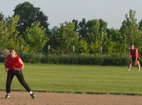 playing softball outfield