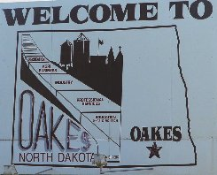 Oakes Welcome Sign